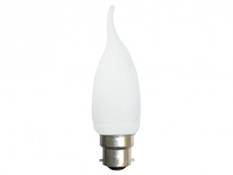 1621 CFL 7W Frosted Candle Tip BC Cap