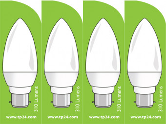3751 LED 4W Frosted Candle BC/B22 Cap *4 Pack Bundle*