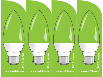 3756 LED 4W Clear Candle BC/B22 Cap *4 Pack Bundle*