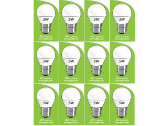 8051 5w B22/BC LED Frosted Golf Ball *12 Pack Bundle*