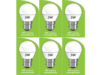 8051 5w B22/BC LED Frosted Golf Ball *6 Pack Bundle*