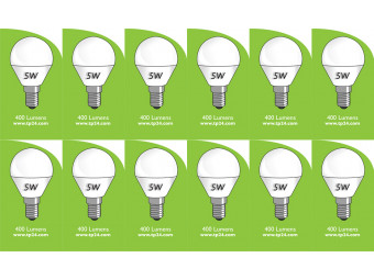 8052 5w E14/SES LED Frosted Golf Ball *12 pack Bundle*