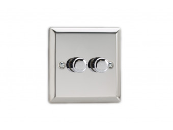 Varilight Double Chrome dimmer switch 2 way