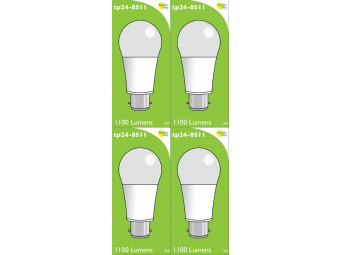 8511 LED 9W Frosted GLS BC/B22 Cap *4 Pack Bundle*