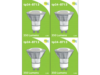 8713 LED 3.5W Clear Spot L1/GU10 Cap (2882 & 2880 Replacement) 4000K *4 Pack Bundle*