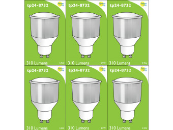 8732 LED 3.5W Cool White Opaque Spot L1/GU10 Cap (8722, 2886, 2884 & 2318 Replacement) 4000K *6 Pack Bundle*