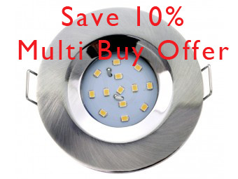 5704 G40 IP65 Satin Silver Fire Rated Plug & Play Downlight 6 Pack *Inc Lamps & Cables*