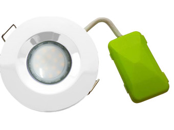 5747 G40 IP65 Downlight Earthed Model White Inc Frosted Lamp
