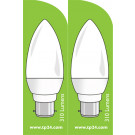 3751 LED 4W Frosted Candle BC/B22 Cap *2 Pack Bundle*