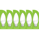 3751 LED 4W Frosted Candle BC/B22 Cap *6 Pack Bundle*
