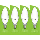 8032 5w E14/SES LED Frosted Candle *4 Pack Bundle*