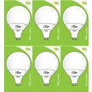 8534 10W L1/GU10 Plastic / Aluminium LED Globe *6 Pack Bundle*