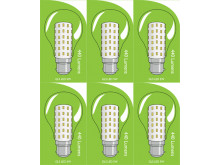 3821 LED 5W Clear GLS BC/B22 Cap *6 Pack Bundle*