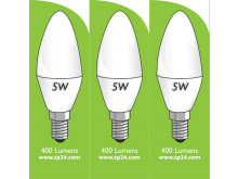 8032 5w E14/SES LED Frosted Candle *3 Pack Bundle*
