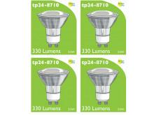 8710 LED 3.5W Clear Spot L1/GU10 Cap (2882 & 2880 Replacement) *4 Pack Bundle*