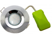 5749 G40 IP65 Downlight Earthed Model Inc Satin Silver With Frosted Lamp